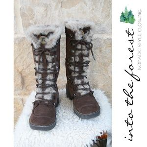 Report Brown Leather Lace-up Boots w/ Faux Fur 6